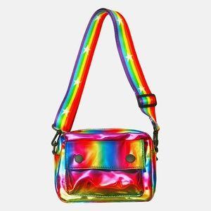 Multi Iridescent Chrome Metallic Rainbow Strap Bag